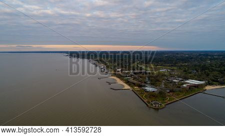 Aerial View Of Point Clear On Mobile Bay In Fairhope, Alabama