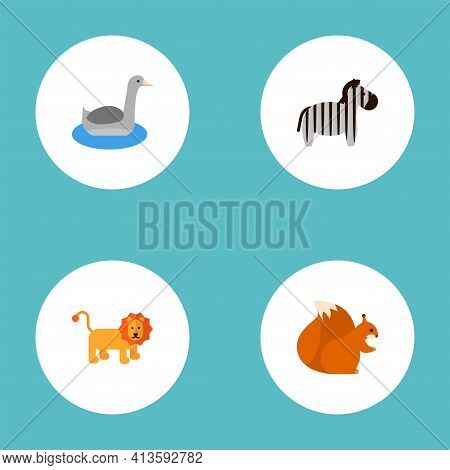 Set Of Zoology Icons Flat Style Symbols With Zebra, Lion, Squirrel And Other Icons For Your Web Mobi