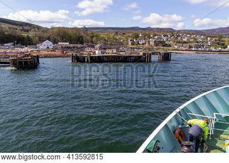 Brodick, North Ayrshire, Scotland, Uk - April 23, 2016: Approaching The Ferry Terminal In Brodick On
