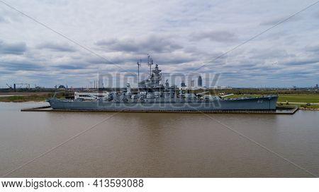 The Uss Alabama Battleship In Mobile, Alabama