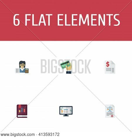Set Of Recording Icons Flat Style Symbols With Credit, Accountant, Software And Other Icons For Your
