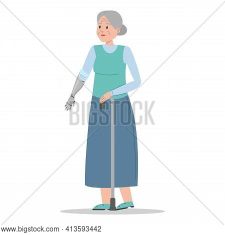 Old Disabled Woman Vector Isolated. Senior Lady