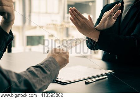 Corruption. The Businessman Denies The Money Proposed By His Partner To Bribe The Concept Of Bribery