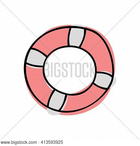 Doodle Lifebuoy. Hand Drawn Of A Lifebuoy Isolated On A White Background. Vector Illustration Sticke