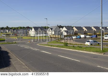 East Kilbride, South Lanarkshire, Scotland, Uk - May 13, 2019: New Houses Built On The Old Rolls-roy