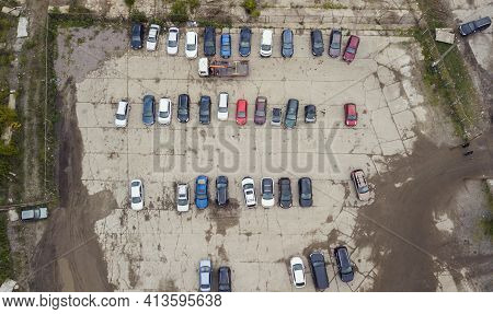 Fines For Parking Violations By Evacuators From A Birds Eye View, Guarded By Police. Ukraine, Kiev M