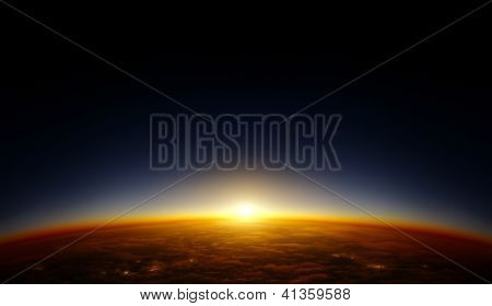 Illustration of a planet viewed from orbit in space with the sun setting over its horizon. Continent patterns and cities are fictional and are not supposed to resemble any special area on Earth.
