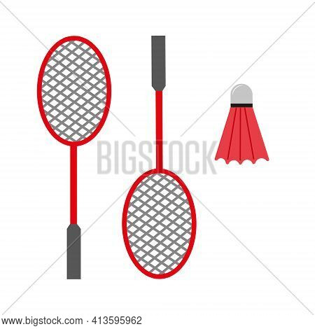 Badminton Rackets And Shuttlecock. Red Badminton Equipment. Sports Facilities. Isolated Flat Vector