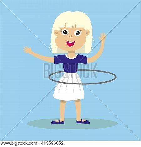 Cute Smiling Blond Girl Playing With Hula Hoop. Happy Hula Hooping Kid. Child Enjoying Exercising. I