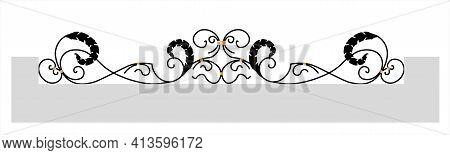 Decorative Fence. Black Forged Lattice Fence. Vector Illustration Isolated On White Background. Forg