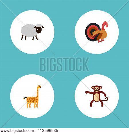 Set Of Zoology Icons Flat Style Symbols With Monkey, Sheep, Turkey And Other Icons For Your Web Mobi