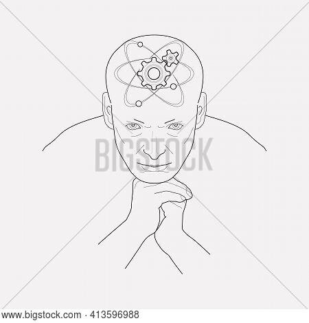 Technical Mind Icon Line Element. Illustration Of Technical Mind Icon Line Isolated On Clean Backgro