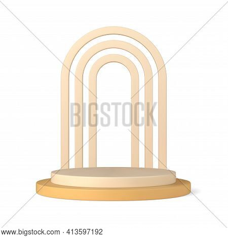 Podium 3d With Triple Openwork Arch Vector Template. Exhibition Pastel Color For Presentations With