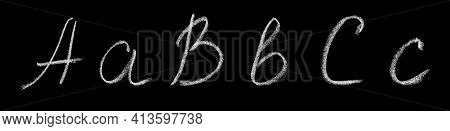 Uppercase And Lowercase Letters A, B, C Of The English Alphabet Written By Hand In Chalk On A Blackb