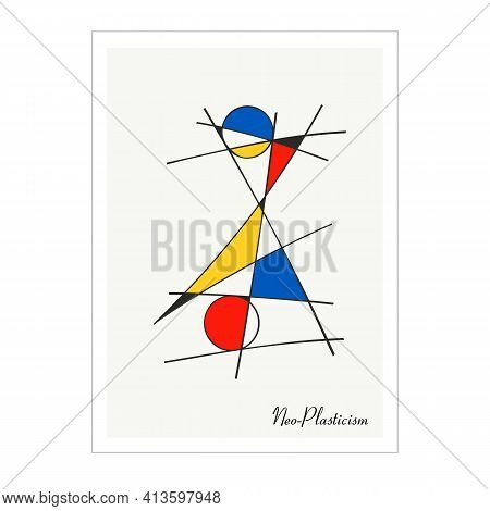 Modern Poster, Artwork Inspired Postmodern In The Style Of Neoplasticism, Bauhaus, Mondrian. Perfect