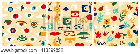 Eye Abstract Pattern Set, Geometric Shapes In Contemporary Style. Vector Greek Seamless Pattern With