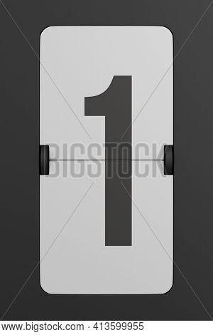 Flip black scoreboard number. 3D illustration