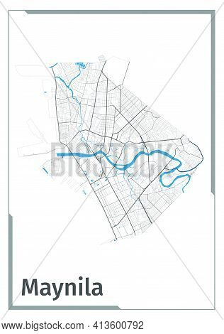 Manila Map Poster, Administrative Area Plan View. Black, White And Blue Detailed Design Map Of Manil
