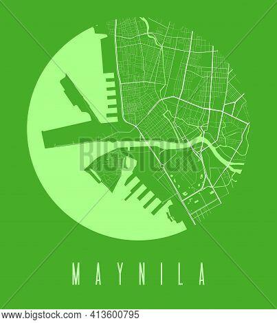 Manila Map Poster. Decorative Design Street Map Of Manila City. Cityscape Aria Panorama Silhouette A