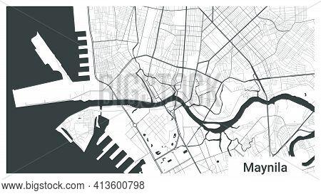 Map Of Manila City, Republic, Philippines. Horizontal Background Map Poster Black And White Land, St