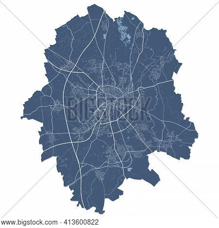 Münster Map. Detailed Vector Map Of Münster City Administrative Area. Cityscape Poster Metropolitan