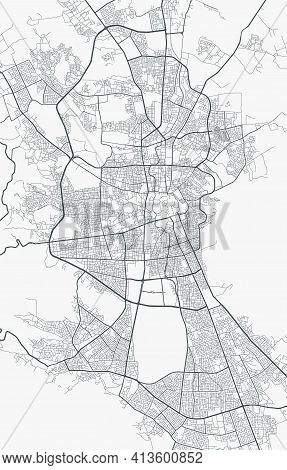 Urban City Map Of Sanaa. Vector Illustration, Sanaa Map Grayscale Art Poster. Street Map Image With