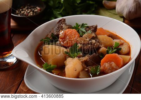 Irish Stew Made With Beef, Potatoes, Carrots And Herbs. Traditional St.patrick's Day Dish, Stewed In