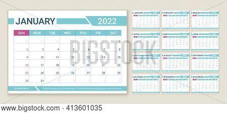 Calendar 2022 Year. Planner Template. Week Starts Sunday. Vector. Calender Layout. Table Schedule Gr