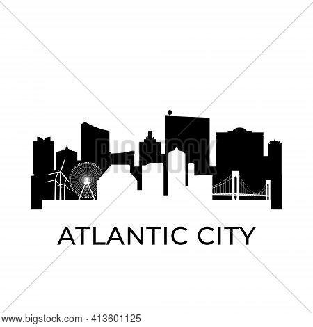 Atlantic City, New Jersey City Skyline. Negative Space City Silhouette. Vector Illustration.
