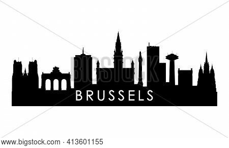 Brussels Skyline Silhouette. Black Brussels City Design Isolated On White Background.