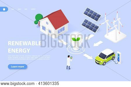 Ecological And Renewable Energy Concept. Converting Solar And Wind Energy Into Electrical Energy.