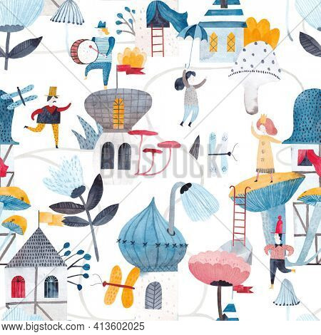 Cute watercolor background. Fantastic world with fairy houses, flowers, midgets. Childish seamless pattern. Childish seamless pattern.