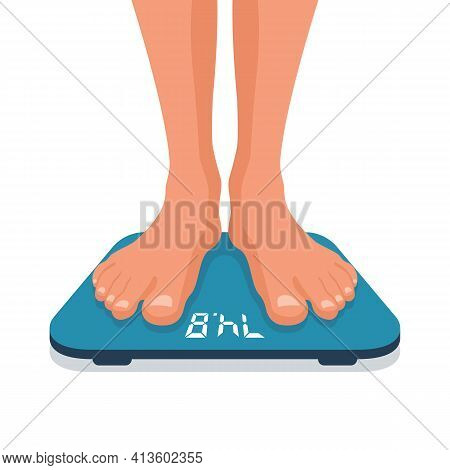 Man Standing On Weight Scale. Man Legs On Scales. Human Is Weighed. Body On Scales. Vector Illustrat