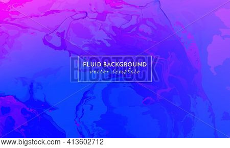 Abstract Fluid. Blue Color Dynamic Marble. Creative Liquid Banner. Alcohol Inks Paint Texture. Minim