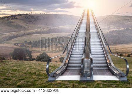Escalator to sunny sky on landscape background