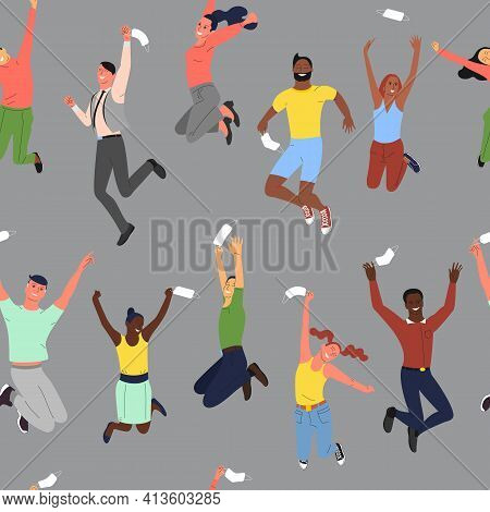 Seamless Pattern With Crowd Of Young Happy Smiling Multinational Diverse People In Jumping Poses Thr