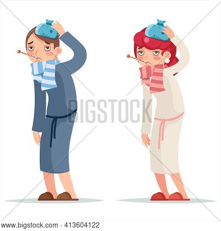 Sick Ill Female Male Cold Virus Flu Disease Illness Medicine Woman Cartoon Design Character Vector I