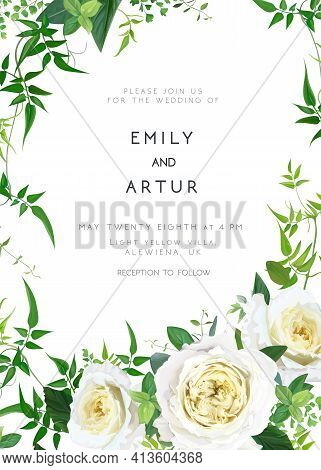 Trendy Greenery Wedding Floral Vector Invite, Holiday Invitation Card. Light Yellow Garden Rose Flow