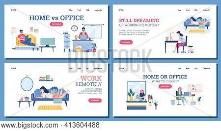 Set Of Web Banners Freelance Vs Work In Office, Cartoon Vector Illustration.