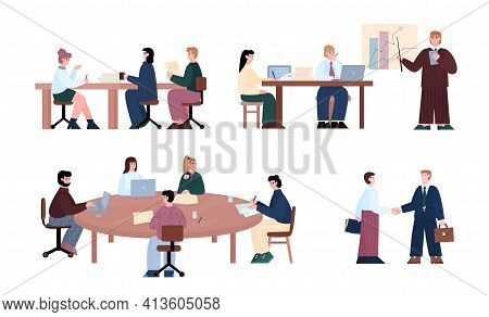 Business Negotiations Meeting Set Of Cartoon Vector Illustrations Isolated.