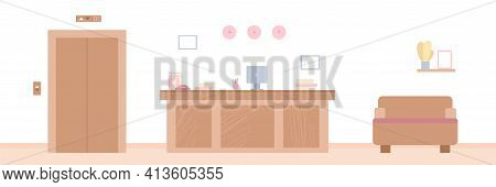 Modern Interior Empty Reception Room With Furniture And Workplace Receptionist
