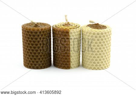 Scented Wax Candles Isolated On White Background. Honey-scented Candles