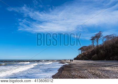 Beach On The Baltic Sea Coast In Nienhagen, Germany.