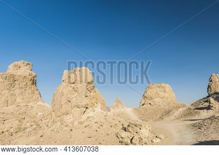 Trona Pinnacles are nerarly 500 tufa spires hiddeen in California Desert National Conservation Area, not far from the Death Valley National Park, California, USA.