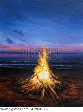Original  Oil Painting Of Inviting Campfire On The Beach.sunset Over Ocean  On Canvas.modern Impress