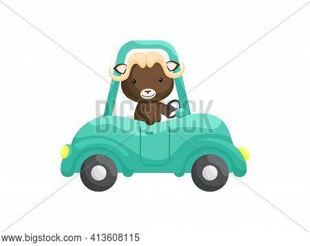 Cute Little Musk-ox Driving Emerald Car. Cartoon Character For Childrens Book, Album, Baby Shower, G
