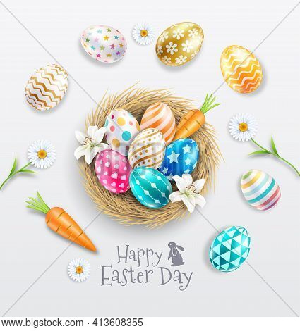 Happy Easter Day Easter Eggs Colorful Different And Patterns Texture  On Egg Nest With Lilies And Da