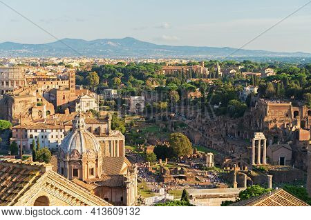 Rome Historic Architecture, View To Roman Forum And Coliseum From Rooftop Of Monument To Vittorio Em
