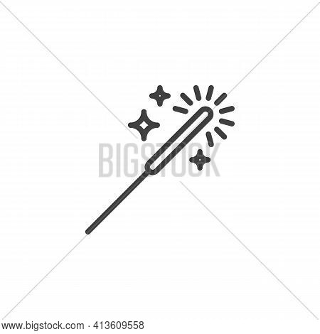Sparkler Stick Line Icon. Linear Style Sign For Mobile Concept And Web Design. Bengal Light Outline