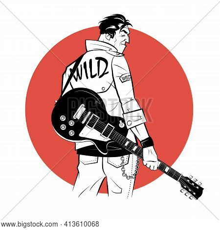 Rocker With Electric Guitar In Sketch Style On Red Background.